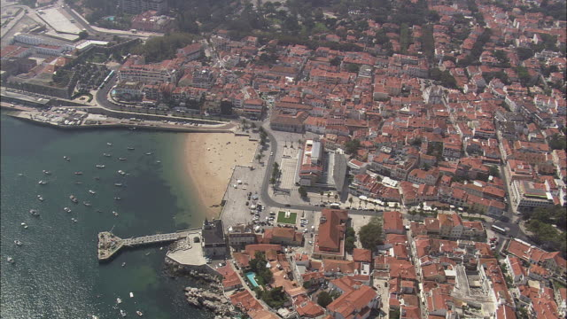 aerial ws td cityscape with beach and marina / cascais, lisbon, portugal - cascais stock videos and b-roll footage