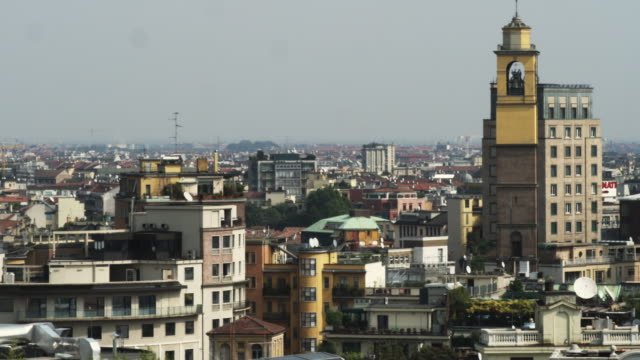 ws ha cityscape with bell tower / milan, italy - milan stock videos & royalty-free footage