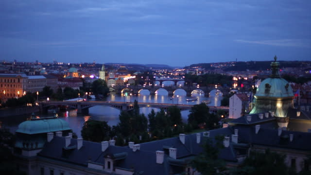 WS HA Cityscape with bridges at dusk / Prague, Czech Republic