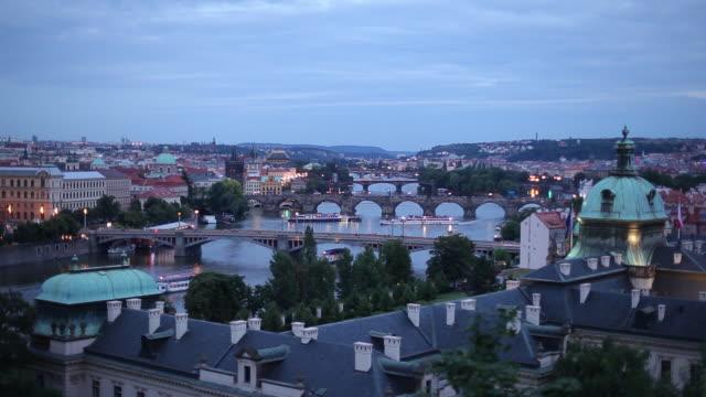 WS HA Cityscape with bridges at dusk / Prague, Czech Republic