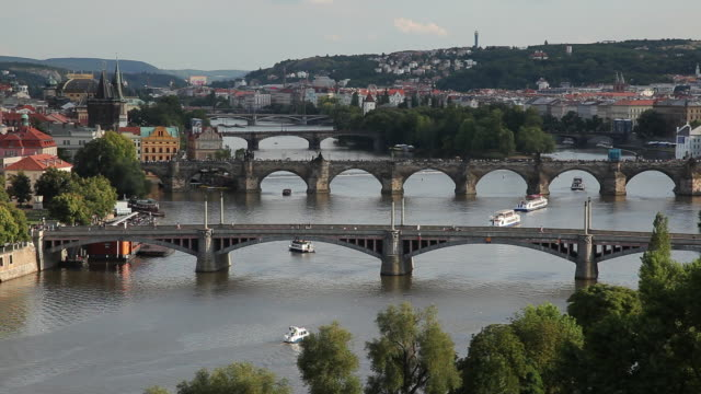 WS HA Cityscape with bridges / Prague, Czech Republic