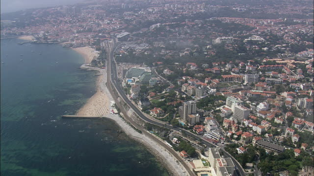 aerial ws cityscape with coastline / cascais, lisbon, portugal - cascais stock videos and b-roll footage