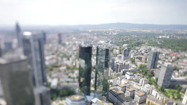 cityscape with eurotower building frankfurt am main hessen germany on monday july 1 2019 - deutsche bank stock videos & royalty-free footage