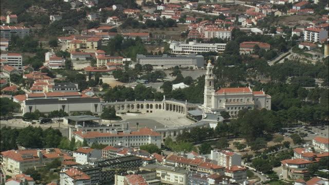 aerial ws cityscape with fatima shrine / fatima, leria, portugal - leiria district stock videos & royalty-free footage
