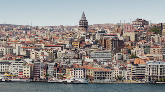 t/l ws ha zo cityscape with galata tower, istanbul, turkey - golden horn istanbul stock videos and b-roll footage