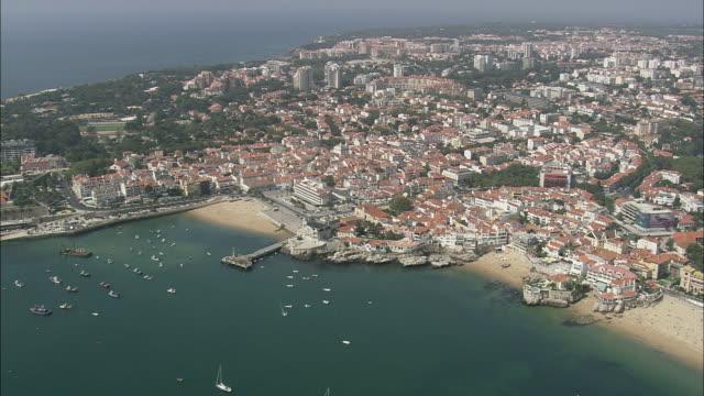 aerial ws cityscape with harbor / cascais, lisbon, portugal - cascais stock videos and b-roll footage