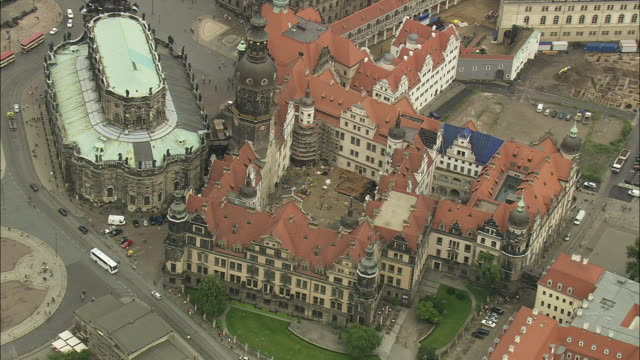 aerial cityscape with hofkirche church, dresden, saxony, germany - hofkirche stock videos & royalty-free footage