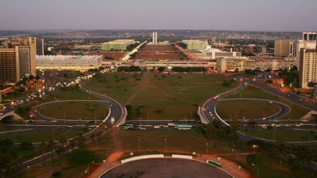 T/L, WS, HA, Cityscape with intersecting highways, dusk to night, Brasilia, Brazil