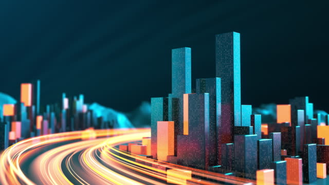 vídeos de stock e filmes b-roll de cityscape with light streaks - urban skyline, data stream, internet of things, architectural model, traffic and transporation - modelação low poly
