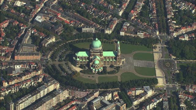AERIAL Cityscape with National Basilica of the Sacred Heart / Brussels, Belgium