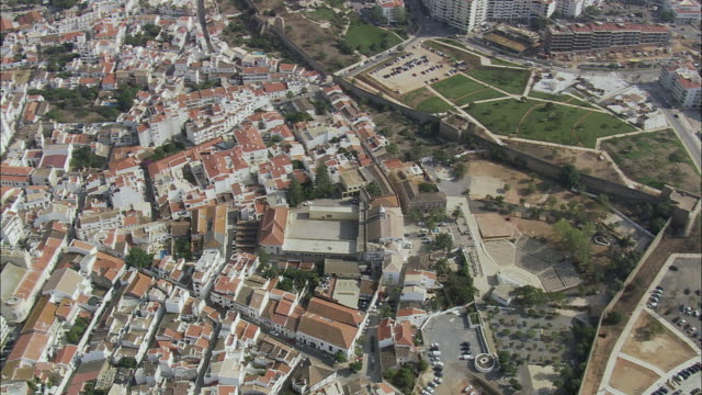 AERIAL WS Cityscape with old town within fortified walls / Lagos, Faro, Portugal