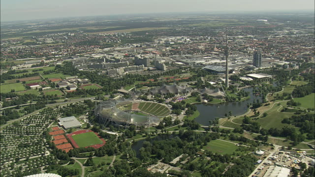 AERIAL Cityscape with Olympiapark, Munich, Bavaria, Germany