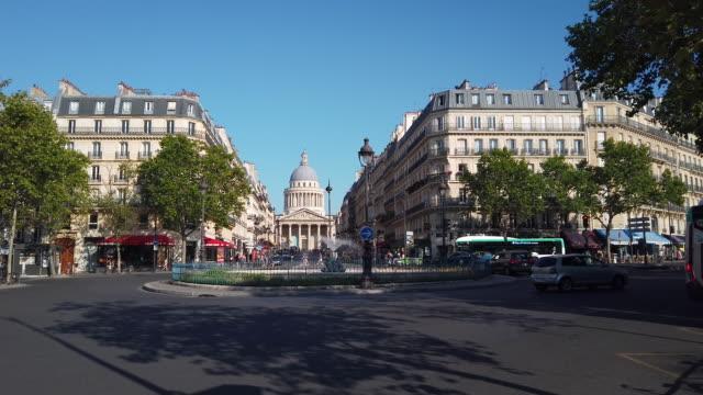 ws cityscape with pantheon, latin quarter, paris, france - old town点の映像素材/bロール