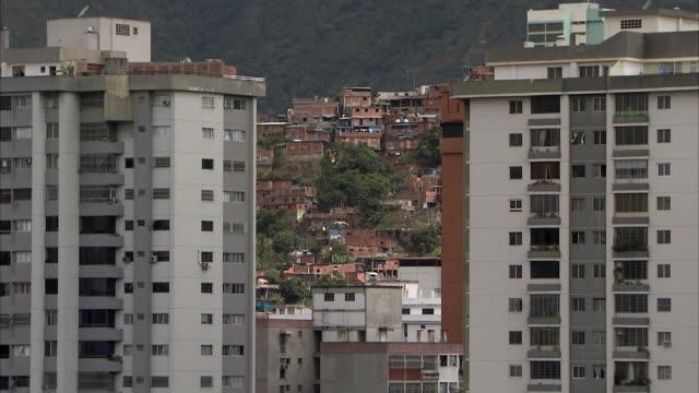 WS ZI MS Cityscape with Petare residential area / Caracas, Miranda, Venezuela