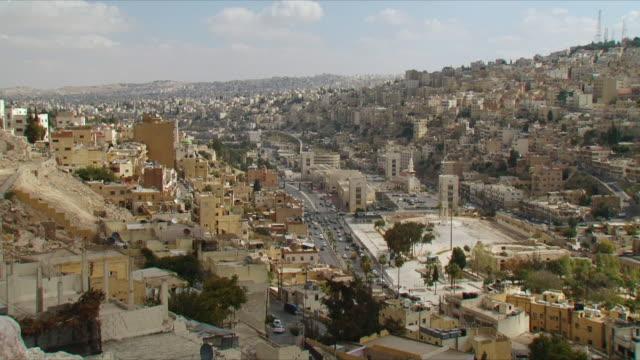 WS HA PAN Cityscape with Roman amphitheater at Amman / Jordan