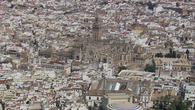 AERIAL WS Cityscape with Seville Cathedral / Seville, Andalusia, Spain