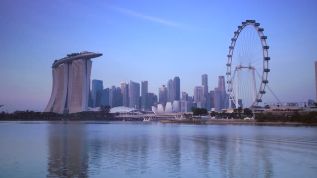 ws cityscape with singapore flyer and marina bay sands - marina bay sands stock videos and b-roll footage