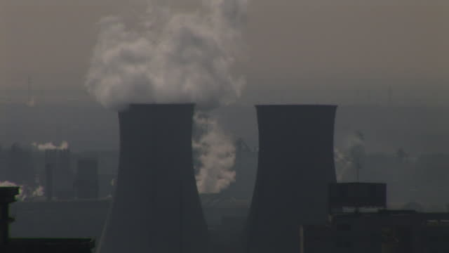 zo, ws, ha, cityscape with smoking factory chimneys, tianjin, china - smog video stock e b–roll