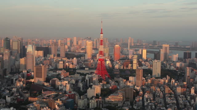 ws ha cityscape with tokyo tower at sunrise / tokyo, japan - horizon over land stock videos & royalty-free footage