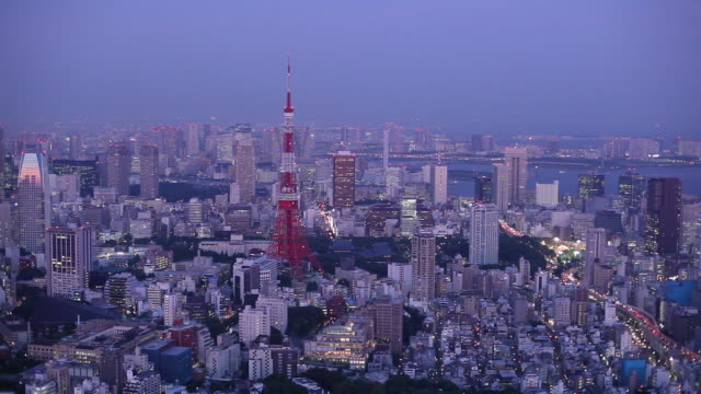 ws ha cityscape with tokyo tower at sunrise / tokyo, japan - alba crepuscolo video stock e b–roll