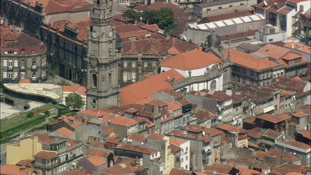 AERIAL MS Cityscape with town hall / Porto, Portugal