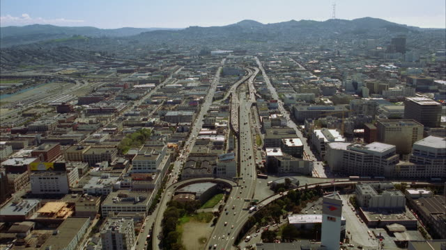 aerial cityscape with traffic on highways / san francisco, california, usa - 2001 stock videos & royalty-free footage