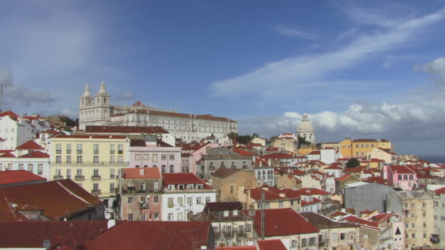 WS PAN Cityscape with view of Mosteiro de Sao Vicente de Fora, National Pantheon, and Santo Estevao Church / Lisbon, Portugal