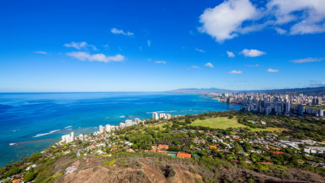 cityscape with waikiki beach / hawaii, united states - oahu stock videos & royalty-free footage