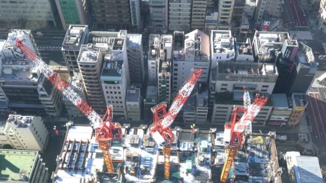 4 K stadsgezichten kraan en bouw