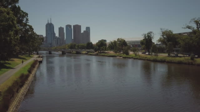 4K Cityscapes, Landscapes & Establishers: Aerial view of Yarra River and Melbourne city