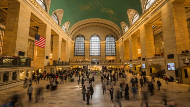 4k cityscapes, landscapes & establishers : grand central terminal new york city - stazione della metropolitana video stock e b–roll