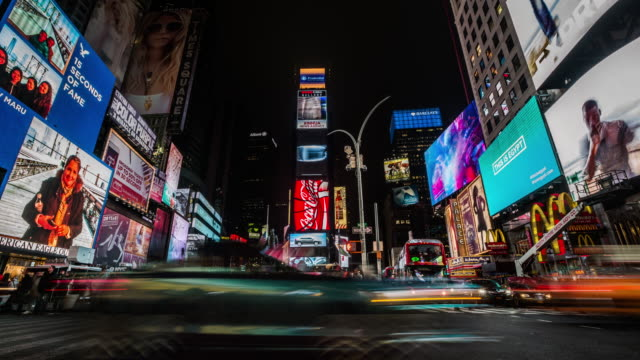 4k cityscapes, landscapes & establishers : times square new york city - night stock videos & royalty-free footage