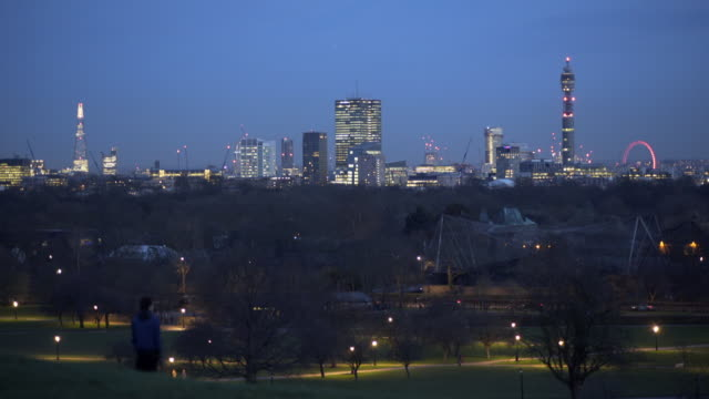 4k cityscapes, london primrose hill in winter. - millennium wheel stock videos & royalty-free footage