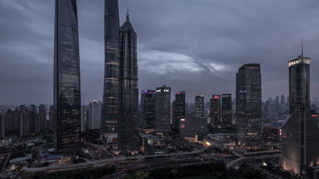 4K Cityscapes of Lujiazui Shanghai China at dusk