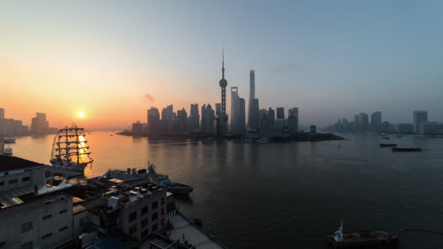 4K Cityscapes of Shanghai skyline at dawn
