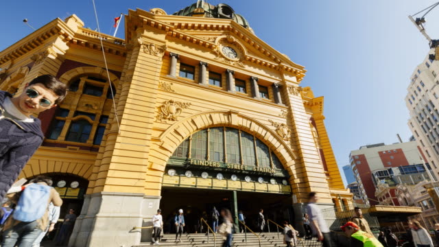 4k cityscapes time-lapse: flinders station with people - public building stock videos and b-roll footage