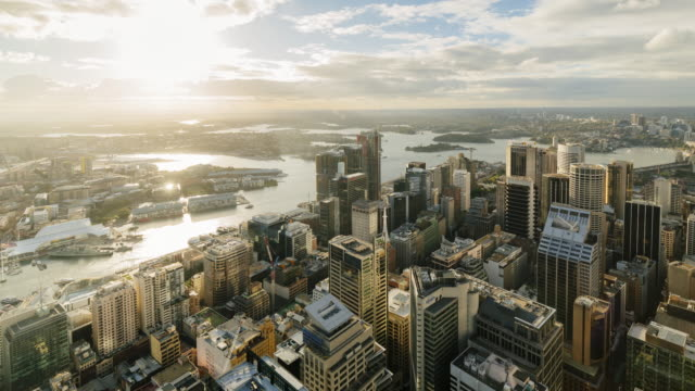 4k cityscapes time-lapse: sunset sydney cbd from elevated view - international landmark stock videos & royalty-free footage