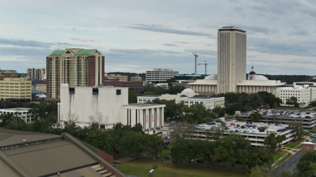 civic buildings in downtown tallahassee - aerial view - florida us state stock videos & royalty-free footage
