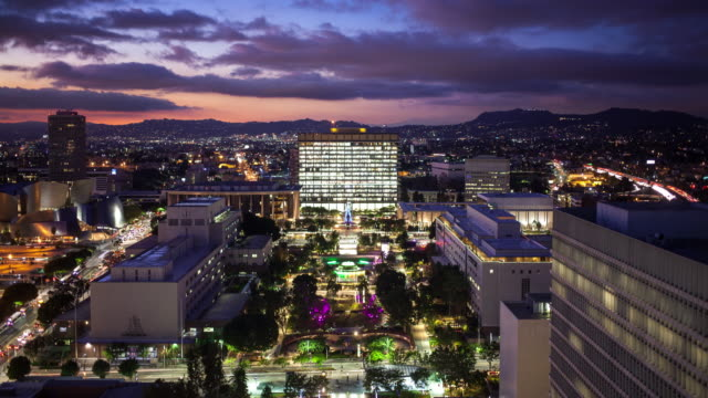 LA Civic Center and Beyond at Night From Above - Time Lapse