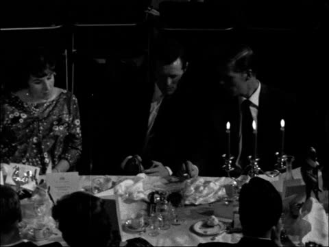 civic dinner given to spurs for winning the 'double' england london tottenham town hall int high angle view diners seated at tables league cup on... - 1961 bildbanksvideor och videomaterial från bakom kulisserna