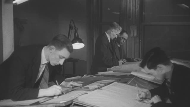 vídeos de stock, filmes e b-roll de 1946 montage civil engineers and architects drafting in an office / united kingdom† - 1946