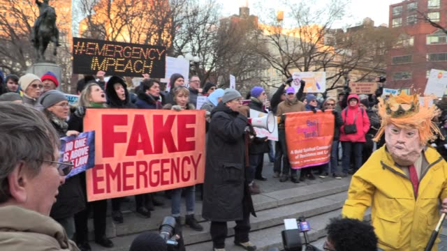 civil rights attorney norman siegel speaks of trump impeachment 'trump is the emergency' to protest trump's calling national emergency gathers... - demonstrant stock-videos und b-roll-filmmaterial