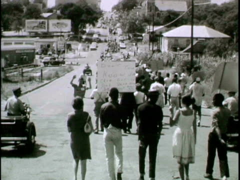 naacp civil rights demonstration moves up congress avenue - 1963 stock videos & royalty-free footage