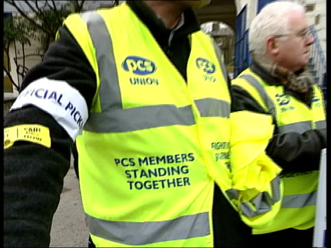strike action; itv evening news: u'lay england: ext cms striking civil servants manning picket line pull out cms banner held by pickets tx... - itv evening news stock-videos und b-roll-filmmaterial