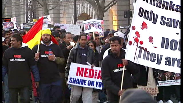 civil war continues: tamil sympathisers march in london; more of tamil sympathisers along on protest march against sri lankan civil war - sri lanka stock videos & royalty-free footage