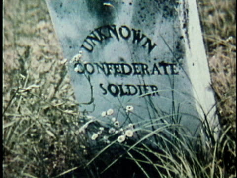 1971 cu civil war headstone of an 'unknown confederate soldier' / 19th century united states / audio - civil war stock videos & royalty-free footage