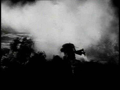 vidéos et rushes de reenactment civil war soldiers battling at night / united states - armée de l'union
