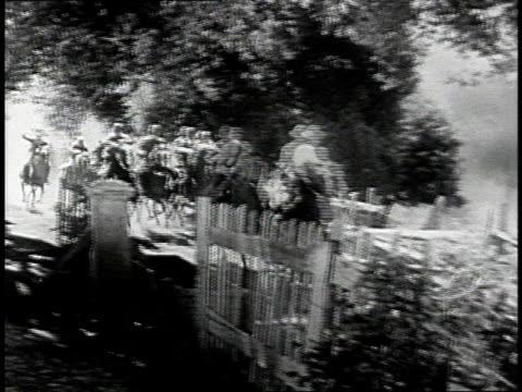 reenactment civil war soldiers riding on horseback / united states - war stock-videos und b-roll-filmmaterial