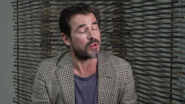 interview claes bang actor on starring in the new bbc drama dracula vampires making a comeback and on acquiring a london accent at 'the burnt orange... - 76th venice film festival 2019点の映像素材/bロール