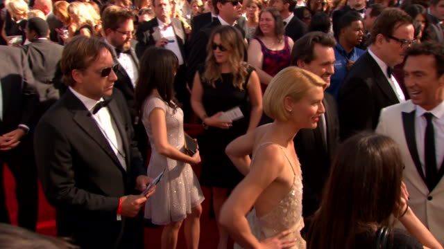 claire danes arrives at the 2013 emmy awards. - emmy awards stock videos & royalty-free footage
